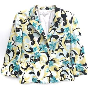 Tahari | Floral Long Sleeve Button Front Blazer